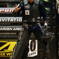 LAS VEGAS, NV - JUNE 11: Luciano De Castro celebrates during the PBR Las Vegas Invitational, on June 11, 2021, at the MGM Grand Garden Arena, in Las Vegas, Nevada. (Photo by Chris Elise)