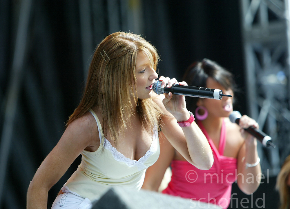 Nicola Roberts, of Girls Aloud, performing on stage at the Live and Loud concert at Hampden Stadium, 2004..Pic ©2010 Michael Schofield. All Rights Reserved.
