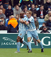 Photo: Kevin Poolman.<br />Coventry City v Sheffield United. Coca Cola Championship. 11/03/2006.<br />Dele Adebola and James Scowcroft celebrate Coventry's 2nd goal.