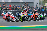 #4 Andrea Dovizioso, Italian: Mission Winnow Ducati Team leads #46 Valentino Rossi, Italian: Movistar Yamaha MotoGP and #44 Pol Espargaro, Spanish: Red Bull KTM Factory Racing during racing on the Bugatti Circuit at Le Mans, Le Mans, France on 19 May 2019.