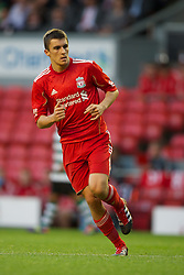 LIVERPOOL, ENGLAND - Wednesday, August 17, 2011: Liverpool's Adam Morgan in action against Sporting Clube de Portugal during the first NextGen Series Group 2 match at Anfield. (Pic by David Rawcliffe/Propaganda)