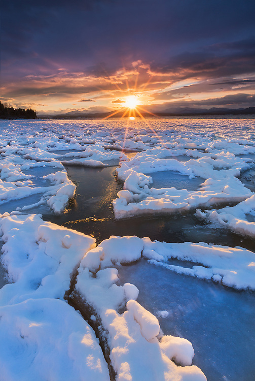 Sunset after late winter storm, Lake Champlain, Charlotte, Vermont