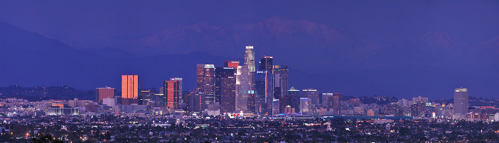 Los Angeles skyline at night with city lights. <br /> <br /> Panoramic available up to 12483 x 3590 pixels.