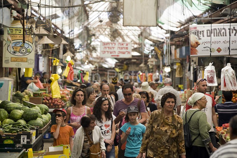 Customers shopping in the Mahane Yahuda Market, Jerusalem, Israel
