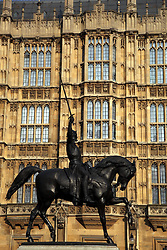21 April 2011. London, England..A statue of Richard the 1st, Richard the Lionheart outside The Houses of Parliament..Photo; Charlie Varley.
