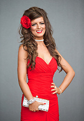 LIVERPOOL, ENGLAND - Friday, April 4, 2014: Emma Lapsley from Edinburgh wearing CocoBoo during Ladies' Day on Day Two of the Aintree Grand National Festival at Aintree Racecourse. (Pic by David Rawcliffe/Propaganda)