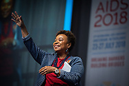 22nd International AIDS Conference (AIDS 2018) Amsterdam, Netherlands.  <br /> <br /> Photo shows: Welcome to San Francisco and Oakland for AIDS 2020: A tale of two cities, by <br /> Barbara Lee, US Congresswoman for the 13th District of California, Founder & Co-Chair of the Congressional HIV/AIDS Caucus, United States.<br /> <br /> Photo © Steve Forrest/Workers' Photos
