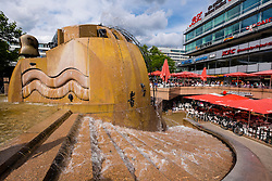 Fountain in square beside Europa Center in Charlottenurg Berlin Germany