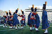 September 15, 2018:  Notre Dame Irish Guard perform the Victory Clog after NCAA football game action between the Vanderbilt Commodores and the Notre Dame Fighting Irish at Notre Dame Stadium in South Bend, Indiana.  Notre Dame defeated Vanderbilt 22-17.