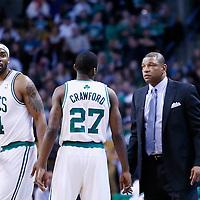 08 March 2013: Boston Celtics shooting guard Jordan Crawford (27) talks to Boston Celtics head coach Doc Rivers during the Boston Celtics 107-102 OT victory over the Atlanta Hawks at the TD Garden, Boston, Massachusetts, USA.