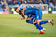 Gillingham FC midfielder Mark Byrne (33) scores a goal (1-0) and celebrates with team mate Gillingham FC defender Luke O'Neill (2) during the EFL Sky Bet League 1 match between Gillingham and Scunthorpe United at the MEMS Priestfield Stadium, Gillingham, England on 16 February 2019.