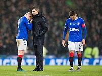 Football - 2019 Betfred Scottish League Cup Final - Celtic vs. Rangers<br /> <br /> Rangers manager Steven Gerrard consoles Ryan Jack of Rangers at full time, Hampden Park Glasgow.<br /> <br /> COLORSPORT/BRUCE WHITE