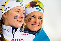 February 3, 2018 - Goms, SWITZERLAND - 180203 Tua Dahlgren and Frida Karlsson of Sweden on the podium after the women's 4x3,3 km relay during the FIS Nordic Junior World Ski Championships on February 3, 2018 in Obergoms..Photo: Vegard Wivestad GrÂ¿tt / BILDBYRN / kod VG / 170098 (Credit Image: © Vegard Wivestad Gr¯Tt/Bildbyran via ZUMA Press)