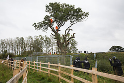 A small group of local people and anti-HS2 activists based at the nearby Poors Piece Conservation Project watches tree surgeons working with the National Eviction Team on behalf of HS2 Ltd fell a 200-year-old oak tree alongside the East West Rail route known locally as the '7 Sisters Oak' as part of works connected to the HS2 high-speed rail link on 23 September 2020 in Steeple Claydon, United Kingdom. The felling of the tree, which was home to bats and other species, was facilitated by a joint force of around fifty bailiffs, security guards and police officers from Thames Valley Police.