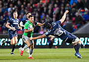 Harlequins scrum-half Danny Care cuts back inside Sale Sharks lock Bryn Evans  during a Gallagher Premiership match at the AJ Bell Stadium, Eccles, Greater Manchester, United Kingdom, Friday, April 5, 2019. (Steve Flynn/Image of Sport)