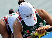 Shunyi, CHINA.   MEX LW2X  (b) HUERTA Gabriela and  PEREZ RUL Lila] before the start of their Repechage, at the 2008 Olympic Regatta, Shunyi Rowing Course. Tuesday 12.08.2008  [Mandatory Credit: Peter SPURRIER, Intersport Images]