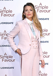 Blake Lively attending the Premiere of A Simple Favour held at The BFI Southbank, Belvedere Road, London. Picture credit should read: Doug Peters/EMPICS