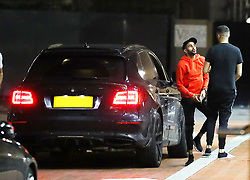 Manchester City's Riyad Mahrez is seen arriving back at The Lowry Hotel, Manchester