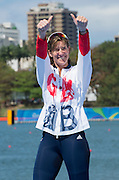 "Rio de Janeiro. BRAZIL.   GBR W2X Silver Medalist Katherine GRAINGER. 2016 Olympic Rowing Regatta. Lagoa Stadium,<br /> Copacabana,  ""Olympic Summer Games""<br /> Rodrigo de Freitas Lagoon, Lagoa.   Thursday  11/08/2016 <br /> <br /> [Mandatory Credit; Peter SPURRIER/Intersport Images]"