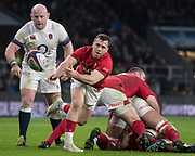 Twickenham, Surrey. UK.  Gareth DAVIES, passes the ball, during the Six Nations Rugby Match, England vs Wales RFU Stadium, Twickenham. Surrey, England. on Saturday 10.02.18<br /> <br /> <br /> [Mandatory Credit Peter SPURRIER/Intersport Images]