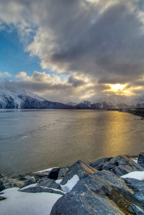 Turnagain Arm, Alaska. Chugach National Forest .View of Bird Point at Chugach State Park along the Seward Highway. The coming of Spring.
