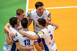 12-05-2019 NED: Abiant Lycurgus - Achterhoek Orion, Groningen<br /> Final Round 5 of 5 Eredivisie volleyball, Orion wins Dutch title after thriller against Lycurgus 3-2 / Auke van de Kamp #5 of Lycurgus, Wytze Kooistra #2 of Lycurgus