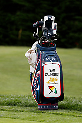 June 12, 2019 - Pebble Beach, CA, U.S. - PEBBLE BEACH, CA - JUNE 12: The bag of PGA golfer Sam Saunders the grandson of Arnold Palmer rests near the practice putting green during a practice round for the 2019 US Open on June 12, 2019, at Pebble Beach Golf Links in Pebble Beach, CA. (Photo by Brian Spurlock/Icon Sportswire) (Credit Image: © Brian Spurlock/Icon SMI via ZUMA Press)