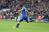 AFC Wimbledon striker Andy Barcham (17) crossing the ball during the The FA Cup 3rd round match between Tottenham Hotspur and AFC Wimbledon at Wembley Stadium, London, England on 7 January 2018. Photo by Matthew Redman.