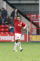 Photo: Mark Stephenson.<br />Walsall v Barnet. Coca Cola League 2. 24/02/2007. Walsall's Kevin Harper celebrates his first goal