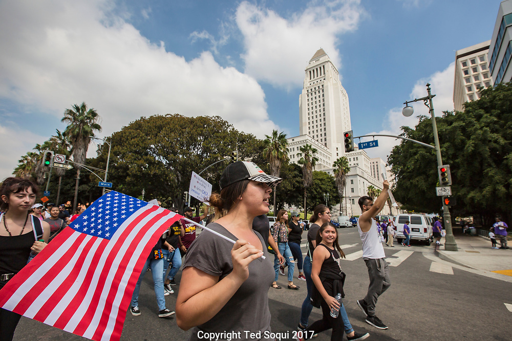 "Hundreds of Los Angeles ""Dreamers"" march in support of the DACA act which will be overturned by Trump in six months. The march started on Cesar Chavez Ave and mades its way to LA City Hall and then the US Federal building in downtown LA."