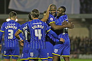 AFC Wimbledon celebrate during the Sky Bet League 2 match between AFC Wimbledon and Mansfield Town at the Cherry Red Records Stadium, Kingston, England on 16 January 2016. Photo by Stuart Butcher.