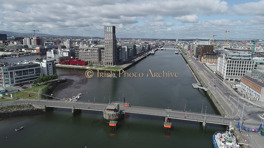 Aerial Still images around Dublin Port during COVID 19 lockdown, Stenna, CLdN, P&O, Cobbelfreight, Tolka Quay, Alexander Rd, Terminal 1,2 ,3, River Liffey, EXO, Building, East Link, Bridge, River Liffey, Samual Beckett Bridge, Capitol Dock, North Quay, Wall, Brewdog,