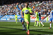 Adam Thompson of Southend United in action. Skybet football league one match , Wigan Athletic v Southend Utd at the DW Stadium in Wigan, Lancs on Saturday 23rd April 2016.<br /> pic by Chris Stading, Andrew Orchard sports photography.