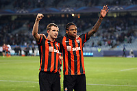 Football - UEFA Champions League 2013/2014 - Group Stage - Group A - Real Sociedad v Shakhtar Donetsk on September 17, 2013 in San Sebastian , Spain - Photo Manuel Blondeau / AOP PRESS / DPPI - Olexandr Kucher (L) and Luiz Adriano of Shakhtar Donetsk celebrate their victory at the end of the match
