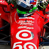 27 May, 2012, Indianapolis, Indiana, USA<br /> Dario Franchitti's helmet rests on his car with the Borg-Warner wreath in victory lane.<br /> (c)2012, Phillip Abbott<br /> LAT Photo USA