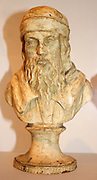 Bust of Aristotle, made from Plaster. 384-322 BC. Showing Aristotle bearded in a hat. Used for copies by Major Gibson-Watt in 1807.
