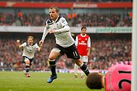 Football - Premier League - Arsenal vs. Tottenham Hotspur<br /> <br /> Tottenham Hotspur's Rafael Van der Vaart scores from the spot to equalize for Spurs at The Emirates Stadium