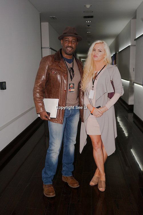 London,England,UK. 14th May 2017. Winston Ellis ,Anna Shuhmacher attends the BBL Play-Off Finals also fundraising for Hoops Aid 2017 but also a major fundraising opportunity for the Sports Traider Charity at London's O2 Arena, UK. by See Li