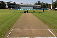 General view of the wicket before the start of the Specsavers County Champ Div 2 match between Leicestershire County Cricket Club and Northamptonshire County Cricket Club at the Fischer County Ground, Grace Road, Leicester, United Kingdom on 10 September 2019.