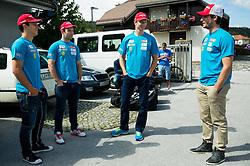 Zan Kranjec, Martin Cater, Klemen Kosi and Misel Zerak at departure of Slovenian Men Ski Team to training camp in Argentina and Chile on August 21, 2014 in SZS, Ljubljana, Slovenia. Photo by Vid Ponikvar / Sportida.com