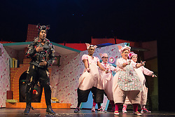 """© Licensed to London News Pictures. 05/08/2015. London, UK. L-R: Simon Webbe, Taofique Forlarin, Daniel Buckley, Alison Jiear and Leanne Jones. West End premiere of the children's story """"The 3 Little Pigs"""" at the Palace Theatre starring Simon Webbe as Wolf, Alison Jiear as Mother, Leanne Jones as Bee, Taofique Folarin as Bar and Daniel Buckley as Q. The show runs from 5 August to 6 September 2015. Photo credit: Bettina Strenske/LNP"""
