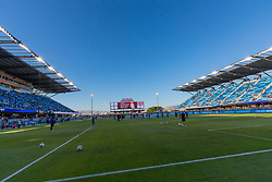June 13, 2018 - San Jose, CA, U.S. - SAN JOSE, CA - JUNE 13: Avaya stadium at dusk before the MLS game between the New England Revolution and the San Jose Earthquakes on June 13, 2018, at Avaya Stadium in San Jose, CA. The game ended in a 2-2 tie. (Photo by Bob Kupbens/Icon Sportswire) (Credit Image: © Bob Kupbens/Icon SMI via ZUMA Press)