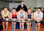 © Peter Spurrier Sports Photo<br /> e-mail  pictures@rowingpics.com<br /> tel 44 (0) 7973 819 551<br /> <br /> TWSC 2001<br /> The competitors line up with Pertti Karpinnen. standing at the back,   [Mandatory Credit, Peter Spurier/ Intersport Images] 20010301 Thames World Sculling Challenge, Putney, London