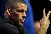 LAS VEGAS, NV - JULY 7:  Nate Diaz looks on during the UFC 202 press conference at T-Mobile Arena on July 7, 2016 in Las Vegas, Nevada. (Photo by Cooper Neill/Zuffa LLC/Zuffa LLC via Getty Images) *** Local Caption *** Nate Diaz