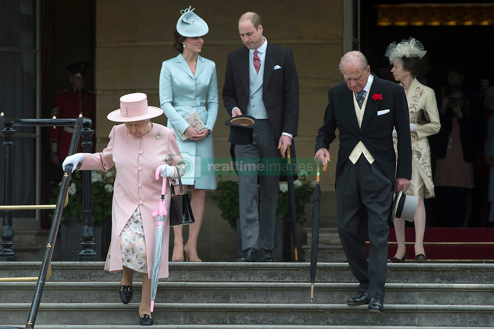 May 16, 2017 - London, London, United Kingdom - Image ©Licensed to i-Images Picture Agency. 16/05/2017. London, United Kingdom. The Duke and Duchess of Cambridge (centre), Queen Elizabeth II and the Duke of Edinburgh and the Princess Royal  at a Garden party at Buckingham Palace in London. Picture by ROTA  / i-Images UK OUT FOR 28 DAYS (Credit Image: © Rota/i-Images via ZUMA Press)