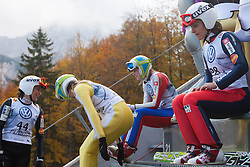 Slovenian women ski jumpers, Eva Logar, Maja Vtic, Ursa Bogataj and Anja Tepes during Slovenian summer national championship and opening of the reconstructed Bloudek's hill in Planica on October 14, 2012 in Planica, Ratece, Slovenia. (Photo by Grega Valancic / Sportida)