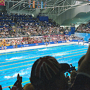 A panoramic image of Grant Hackett, Australia winning the Men's 1500m Gold Medal from Kieren Perkins, Australia (silver) at the Sydney Olympic Pool at Sydney Olympic Park, during the  2000 Sydney Olympic Games...Panoramic images from the Sydney Olympic Games, Sydney, Australia. 2000 . Photo Tim Clayton