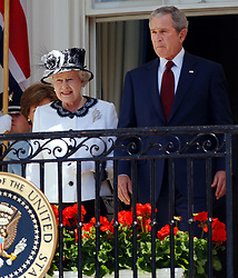 Queen Elizabeth II and the President of the United States of America George Bush on the balcony of the White House, Washington DC, on the sixth day of the Queen's state visit to America.