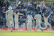 England celebrate the wicket of Ajinkya Rahane of India during the fourth day of the 4th SpecSavers International Test Match 2018 match between England and India at the Ageas Bowl, Southampton, United Kingdom on 2 September 2018.