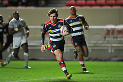 Rhodri Williams of Bristol Rugby cross the line to score Bristol's second try against Bath - Mandatory by-line: Paul Knight/JMP - 13/01/2017 - RUGBY - Ashton Gate - Bristol, England - Bristol Rugby v Bath Rugby - European Challenge Cup